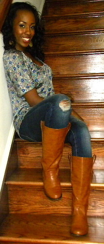 Floral + distressed + tan boots