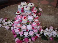 Cherry Blossom Themed Wedding Cupcake Tower (Cupcake Central (Sheryl)) Tags: pink flowers wedding roses tower magenta cupcake frangipani cherryblossom