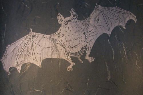 bat linocut