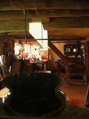 broken green pot (omoo) Tags: sunlight reflection window kitchen glass barn interior claypot damaged oldbarn icebox salvagedwood formerdairyfarm kitcheninthestable brokengreenpot lookingthroughinteriorwindow staircaseuptothesittingroom