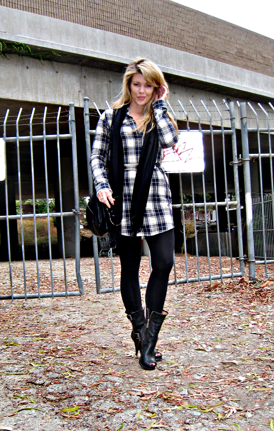 plaid and leather+michael kors motorcycle stiletto boots