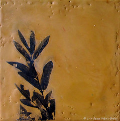 Nature Square, ochre (Jamie Ribisi-Braley) Tags: blackandwhite nature leaves painting small photograph wax transfer encaustic xerox beeswax