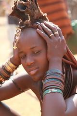 Himba woman in Namibia (katreenatravels) Tags: africa people african culture tribal safari afrika tribe ethnic namibia tribo himba afrique ethnology tribu namibie tribus ethnie