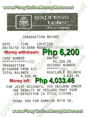 ATM Withdrawal Proof - PinayOnlineMoneyMaker.net