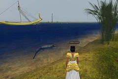 Meritaten sees a crocodile on the banks of the Nile at virtual Amarna (Akhetaten) (mharrsch) Tags: ancient egypt nile crocodile 18thdynasty nefertiti akhenaten virtualworld meritaten amarna virtualenvironment mharrsch akhetaten heritagekey