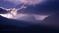 awakening.... somewhere beyond the blue (Dove*) Tags: blue light sky scotland highlands purple awakening foreboding dramatic monochromatic dreamy layers beyond shafts sgurranfhidhleir