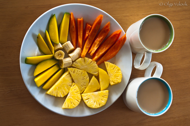 Morning coffee and vitamins