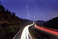 Light Painting Made Easy - Lightning and car traffic trails [EXPLORED] (curtisWarwick) Tags: light sky rain night clouds painting lights virginia interesting highway long exposure tail headlights explore lp bolt strike thunderstorm interstate lightning thunder 81 thunderbolt lighttrail explored