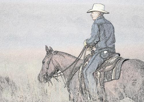 Cowboy Sketch in Color