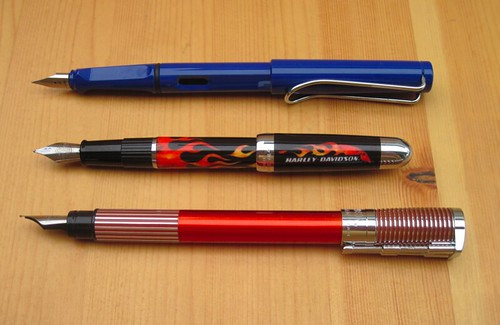 The three pens compared with caps posted