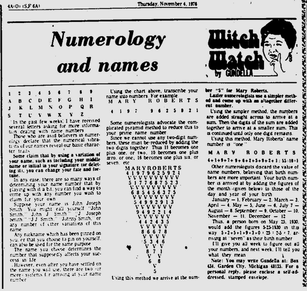Witch Watch: Numerology and names