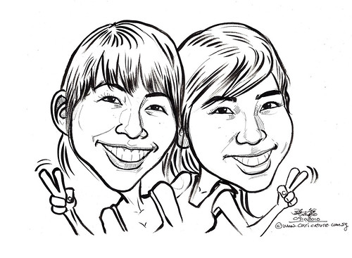 ladies caricature in ink and brush 091010