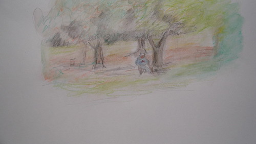 October2010 art lonely Artist under the trees