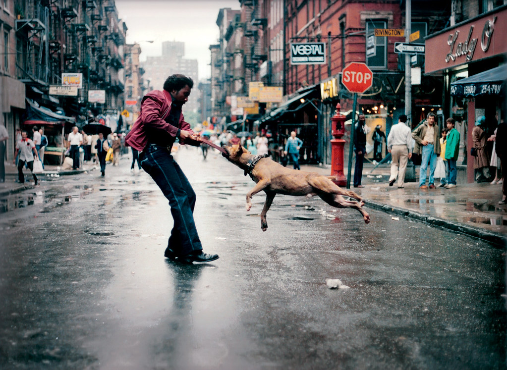Jamel Shabazz: Man and dog on the Lower East Side.