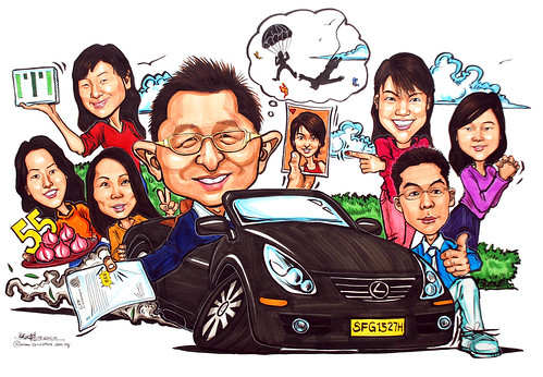 group caricatures for ITI Solutions - colour marker