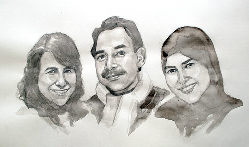 portraits in black and white watercolour - pencil sketch - 2