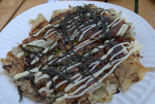 Japanese pancake at night noodle markets at Hyde Park