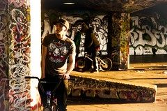 SouthBank (Kevin_Mitchell) Tags: park portrait sunlight london hat lens crazy cool jump nikon bmx grafitti shadows darkness sigma stranger southbank chilling skate porn serenity rails damage beams calmness vinete d300