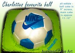 BLUE SOCCER BALL BIRTHDAY CAKE (Anita (Auckland Cake Art)) Tags: birthday blue cakes cake ball football soccer