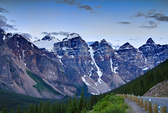 Valley of the Ten Peaks (Jim Boud) Tags: travel blue sky mountain snow canada mountains tree green ice nature pinetree clouds forest canon lens landscape outdoors eos is nationalpark cloudy hiking hill rocky wideangle glacier alberta northamerica banff layers usm dslr 1785mm digitalrebel photoart digitalslr pinetrees hdr efs1785mmf456isusm province firtree artisticphotography partlycloudy multipleexposures blendedexposure canadianrockies photomatix imagestabilization imagestabilized 550d jimboud t2i exposurefusion jamesboud photomatixexposurefusion eos550d kissx4