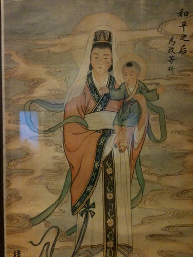 Chinese picture of Virgin and Child from collection of missionary society in church of S Francis, Fiesole