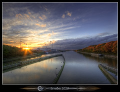 Autumn sunset at the lock (Erroba) Tags: autumn trees sunset water clouds photoshop canon rebel canal ship belgium belgique tripod belgi sigma windmills tips remote 1020mm erlend hdr windpower cs3 tessenderlo gestel 3xp meerhout photomatix albertkanaal tonemapped tonemapping xti 400d vertorama erroba robaye erlendrobaye