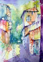 Rue Port st Marie (chrisaqua47) Tags: street france watercolor painting aquarelle peinture acuarela rue aquerello watercomour