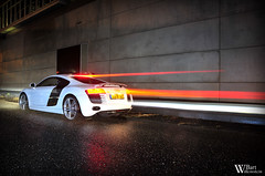 Audi R8 (Bart Willemstein) Tags: red white black night photography nikon fotografie darkness nightshot nacht stripes flash flashphotography nightshots nikkor audi brakelights r8 evenig bartw d300s bartwillemsteinnl