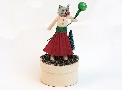 Spun Cotton Christmas Cat