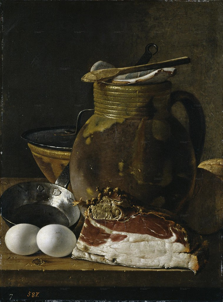 Luis Meléndez (Spanish, DATES) Jamón, Huevos, Recipientes (c. 1775) Oil on canvas 49 by 37 cm. Museo Nacional del Prado, Madrid