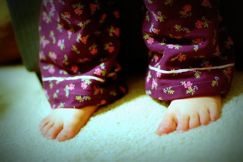 pajama cuffs and feet