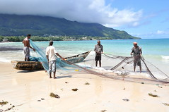Cleaning the net (pentlandpirate) Tags: blue sea coral relax islands boat fishing sand paradise fishermen turquoise indianocean palm exotic granite tropical seychelles equator mahe ladigue seychellen beauvallon seychelle