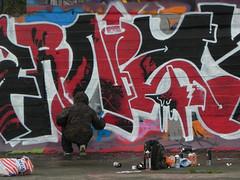 graffiti artist in action (wojofoto) Tags: amsterdam noord ndsm wojofoto graffiti streetart wolfgangjosten