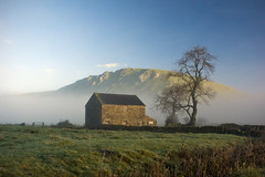 Barn (l4ts) Tags: autumn winter mist tree landscape village derbyshire peakdistrict limestone staffordshire whitepeak stonebarn earlymorninglight hollinsclough chromehill britnatparks updatecollection