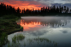 Reflecting Fire (Vinnyimages) Tags: mist lake sunrise outdoors washington baker northwest cascades pacificnorthwest washingtonstate mountbaker cascademountains picturelake vinnyimages wwwvinnyimagescom vinnyimagescom