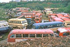 Another view from Birds (Lost-Albion) Tags: birds birmingham 1966 scrapyard kodachrome scrap warwickshire stratforduponavon daimler londontransport aec eynons luc251 rtl1074