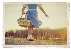 Follow The Yellow Brick Road... (Kimberly Chorney) Tags: vintage naturallight textures littlegirl dirtroad redshoes eveninglight vintageframe dorthywizardofoz
