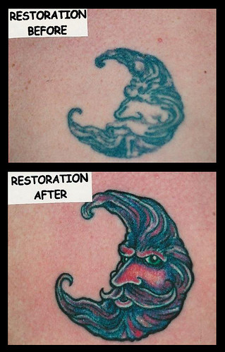 Moon tattoo restoration Tattoo