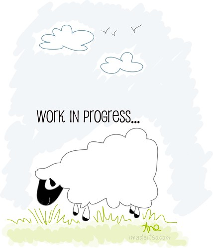 sheep grazing illustration work in progress