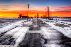 On the road  tonight. . . (CharleneM50) Tags: thanksgiving road houses winter sunset house snow ice nature fence farm 2010