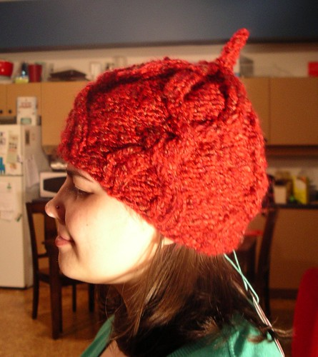 Cabled cherry hat