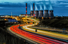 End of an era (peterwilson71) Tags: chimneys smoke traffic lights motion motorway night sky power longexposure