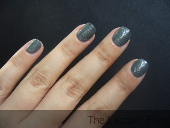 Diamond Cosmetics Matte Smoke stamped with Orly Shine and Konad Imageplate M60