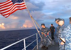 100725-6068W-N-001 (U.S. Pacific Fleet) Tags: wwii sailors lanyard uspacificfleet philippinesea nationalensign japanesetorpedo ussemoryslandas39 submarinetender pacflt usnavyphoto tributetoussindianapolis