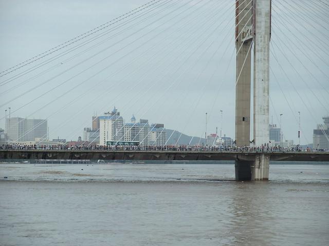 临江门大桥,江水稍有下降