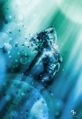 Particle Mermaid Beauty (Marco Boekestijn) Tags: blue light woman green art water netherlands girl beautiful beauty lady digital photoshop painting naked nude artwork aqua ray circles creative bubbles delft marco mermaid effect boekestijn