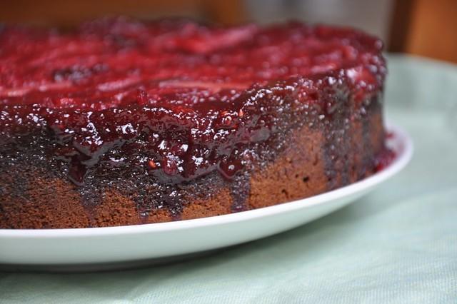 Nectarine Raspberry Upside Down Gingerbread Cake