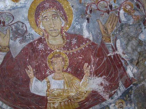 DSCN0277 Sümela, église, intérieur, Vierge à l'Enfant