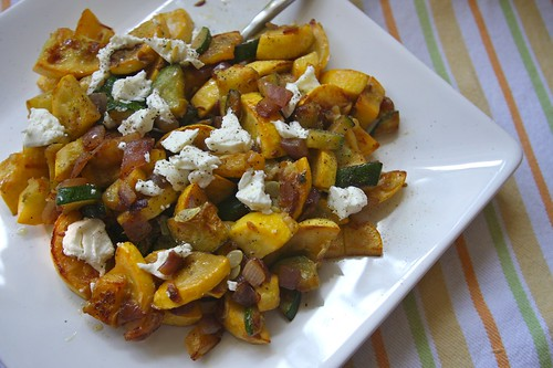 summer squash + zucchini + goat cheese