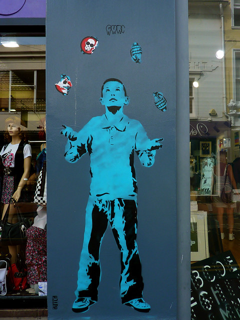 Brighton Graffiti. Wall of ArtRepublic on Bond St.~ boy juggler